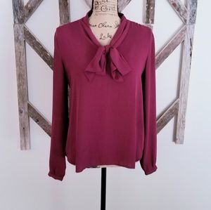 LOFT long sleeve chiffon blouse with tie front